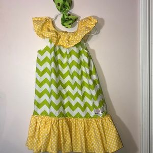 Other - 🌼5/$25 Pretty pink lime green and yellow dress